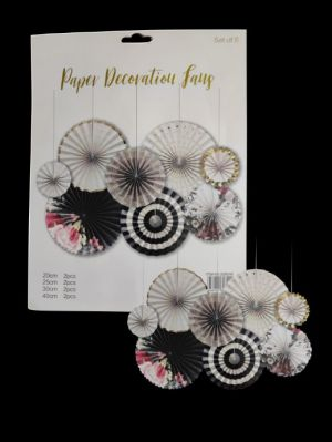 Paper Decoration Fans - Floral - Set of 8