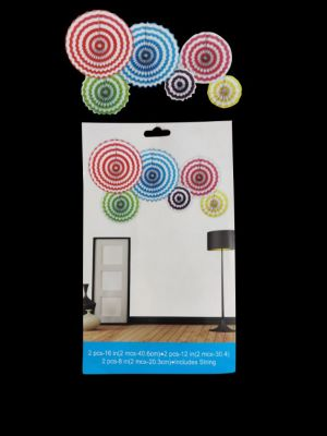 Paper Decoration Fans - Multi Colour - Set of 6 ( Model 400X)