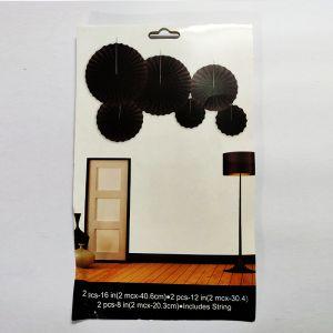 Paper Fans for Decoration - Black - Set of 6