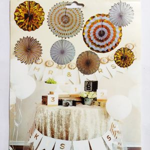 Decoration Paper Fans - Golden - Set of 8