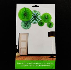 Paper Fans for Decoration - Green - Set of 6