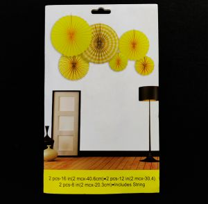 Decoration Paper Fans - Yellow - Set of 6