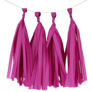 Paper Tassels Decoration -   Dark Pink