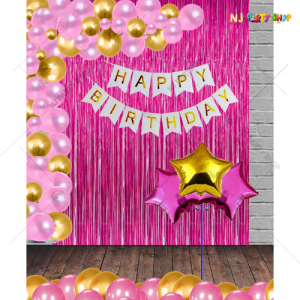 04M - Pink Birthday Decoration Combo Kit - Set of 57