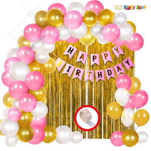 05M - Pink & Golden Birthday Decoration Combo Kit - Set of 61