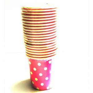 Pink Polka Dot Paper Cups - Set of 20