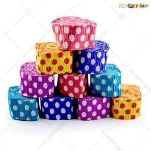 Polka Dot Ribbon Crepe Paper Streamer Roll -Pack of 10