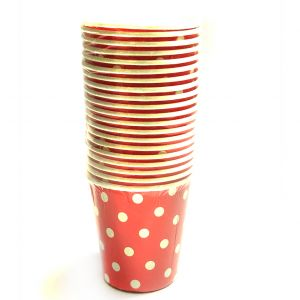 Red Polka Dot Paper Cups - Set of 20