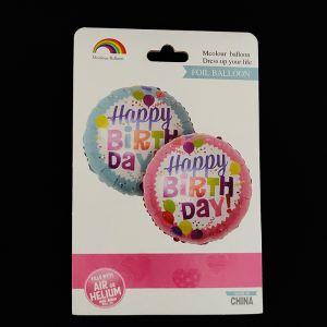 Happy Birthday Blue Round Foil Balloon - Set of 1