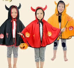 Halloween Costume For Kids With Horn - Red/Black