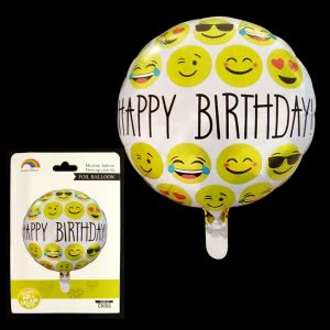Happy Birthday Round Foil Balloon - Smiley