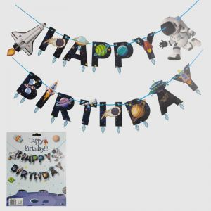 Space Theme Happy Birthday Banner