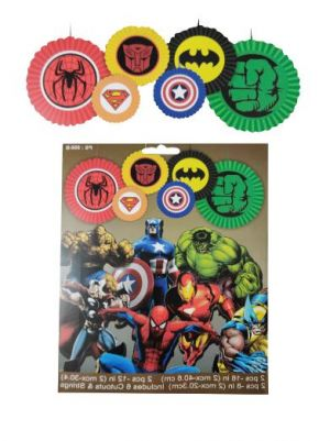 Super Heroes Theme Paper Decoration Fans - Set of 6