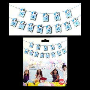 Unicorn Happy Birthday Banner - Blue