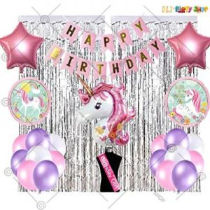 Unicorn Theme Birthday Decoration Combo - Set Of 51