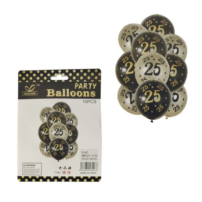 25th Birthday Rubber Balloons